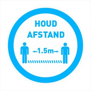houd afstand sticker rond blauw 20cm-1