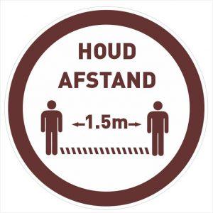 houd afstand sticker rond bruin 20cm-1