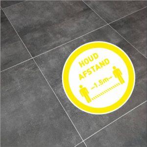 houd afstand sticker rond geel 20cm-2