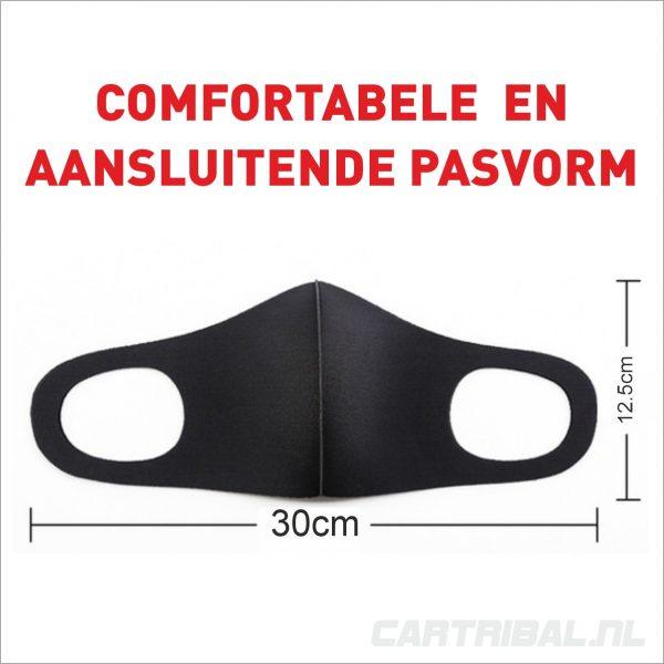 mondkapje zwart - wasbaar dus herbruikbaar mondmasker - niet medisch - elastisch